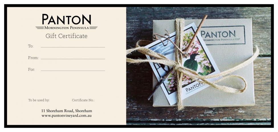 Panton Vineyard Gift Certificate